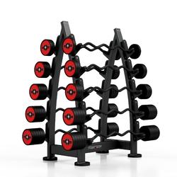 Zestaw sztang gumowanych łamanych 10-55 kg czerwony połysk ze stojakiem mf-s001 - marbo sport
