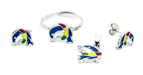 biżuteria dziecięca, komplet ze srebra KLD104 kolorowe delfiny