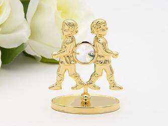 Bliźnięta zodiak figurka z kryształami swarovski grawer prezent
