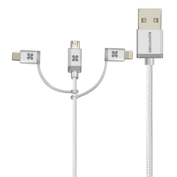 Kabel usb 2.0, usb a m- lightning m + usb c m + microusb m, 1.2m, okrągły, srebrny, promate, oplot, trio