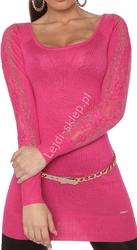 Różowa tunika z dzianiny  - sweter z kryształkami |  różowe swetry damskie 8077