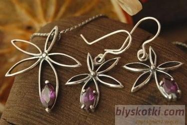 violetGRASS - srebrny komplet z ametystami
