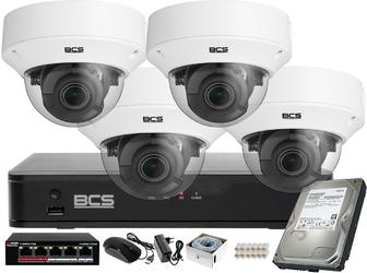 Monitoring wideo audio kasy stacji paliw sklepu bcs point rejestrator ip + 4x kamera bcs-p-262r3wsa akcesoria
