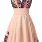 Krótka sukienka w kwiaty koralowo różowa, idealna na wesele, studniowkę, bal
