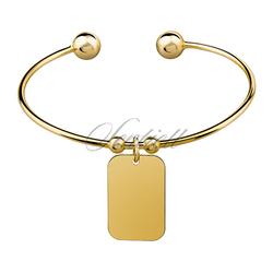 Bransoletka pr. 925 pozłacana - prostokątna zawieszka - Żółte złoto