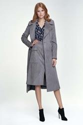 Szary elegancki płaszcz z paskiem