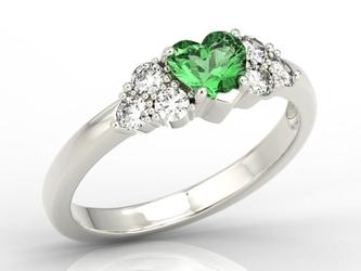 Pierścionek z białego złota z zielonym topazem swarovski i diamentami bp-54b - białe  topaz green