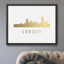 Panorama londynu - plakat ze złotym nadrukiem , wymiary - 30cm x 40cm, kolor ramki - biały, kolor nadruku - złoty