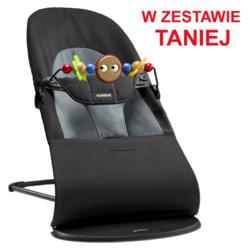 Leżaczek BALANCE SOFT - Czarny  Ciemnoszary + Zabawka