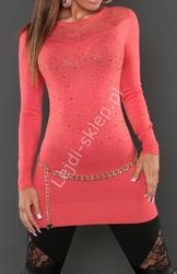 Koralowa swetrowa tunika  z koronką z przodu i na plecach z kryształkami,  129200
