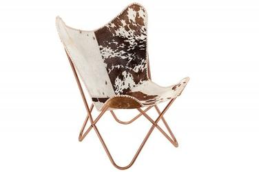 Fotel skórzany Butterfly brązowy biały Hardoy