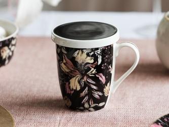 Kubek z zaparzaczem do herbaty i ziół porcelanowy  sitko stalowe altom design black lily 300 ml