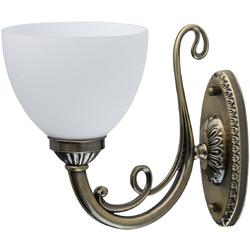 Smukły kinkiet ścienny w kolorze miedzianym i biały klosz MW-LIGHT Classic 450026901
