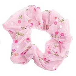 Gumka do włosów szyfon scrunchie różowa wiśnie