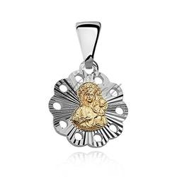 Srebrny medalik matka boska częstochowska złocona
