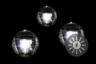 Lampy solarne led 3 kule, światło zimne białe