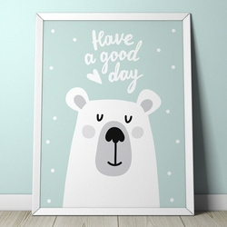 Teddy bear - plakat dla dzieci , wymiary - 70cm x 100cm, kolor ramki - biały