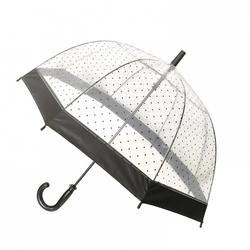 Długi parasol młodzieżowy przezroczysty, kropki