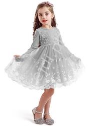 Szara sukienka dla dziewczynki z obfitą spódnicą 0081
