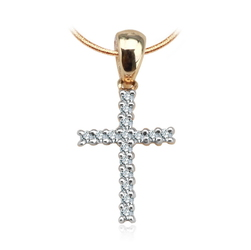 Staviori Wisiorek. Krzyżyk. 16 Diamentów, szlif brylantowy, masa 0,064 ct., barwa H, czystość I1. Żółte, Białe Złoto 0,585. Wymiary 8x16 mm.