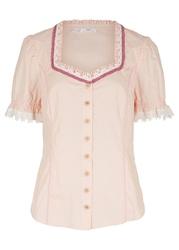 Bluzka w ludowym stylu bonprix pastelowy jasnoróżowy w kropki