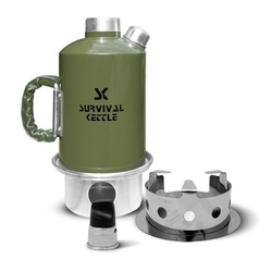 Aluminiowa kuchenka czajnik turystyczny survival kettle zielona - zestaw
