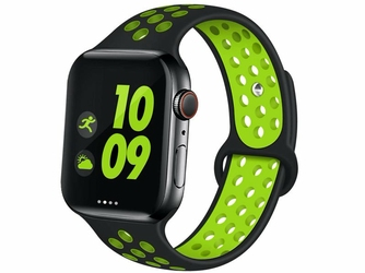 Sportowy pasek alogy soft do Apple Watch 12345 4244mm czarno-zielony