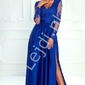 sukienka na wesele, suknia wieczorowa z rozcięciem - luna, chabrowa