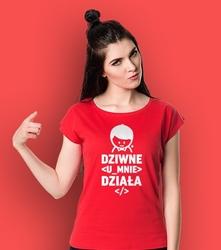 Dziwne  działa  t-shirt damski czerwony l