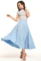 Błękitna midi spódnica z koła