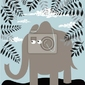 Plakat wektor tła z liści i słonia