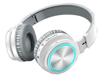 Słuchawki bezprzewodowe nauszne picun b12 led sd bluetooth 5.0 biało-szare