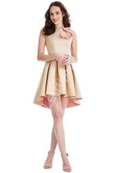 Elegancka sukienka z wydłużonym tyłem z kontrastowym spodem 726