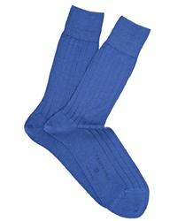 Skarpetki męskie z bawełny merceryzowanej w kolorze niebieskim 43-46