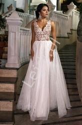 Biała ślubna sukienka z tiulu i koronki chiara emo