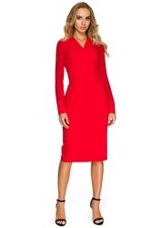 Elegancka sukienka ołówkowa z szyfonowymi rękawami czerwona s136
