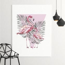 Obraz na płótnie - flamingo triangle , wymiary - 100cm x 150cm