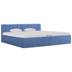 Vidaxl rama łóżka z podnośnikiem, niebieska, tkanina, 180 x 200 cm