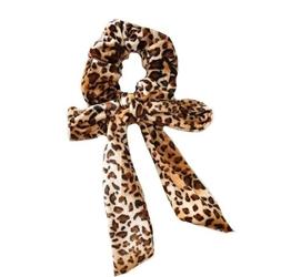 Gumka do włosów kokarda scrunchie brązowa panterka - brązowa panterka