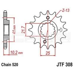Zębatka przednia jt f308-14, 14z, rozmiar 520 2200504 honda slr 650