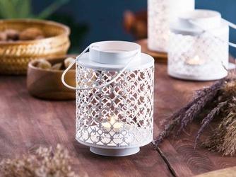 Latarenka  latarnia  lampion ozdobny wiszący metalowy altom design ażurowa okrągła biała 13,3 x 18,5 cm