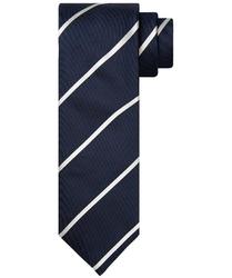 Granatowy krawat jedwabny w białe pasy profuomo