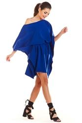 Kimonowa Niebieska Sukienka z Paskiem
