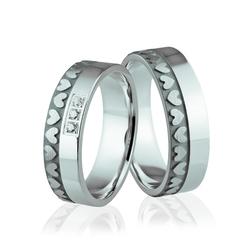 Obrączki srebrne z kamieniami i sercami - wzór ag-292
