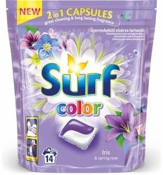 Surf, IrisSpring Rose, kapsułki do prania tkanin kolorowych, 14 sztuk