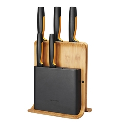 Zestaw noży kuchennych w bambusowym bloku fiskars functional form 5 noży kuchennych 1057552