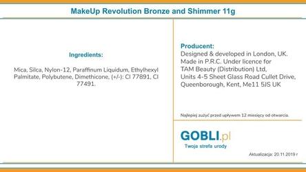Makeup revolution bronze and shimmer, bronzer i rozświetlacz duo powder 11g