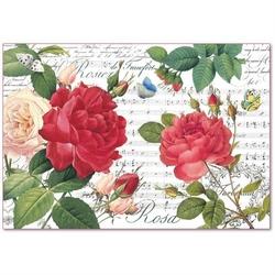 Papier ryżowy stamperia 48x33 cm czerwone róże