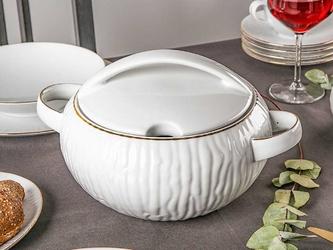 Waza do zupy porcelana mariapaula natura złota linia 3,5 l