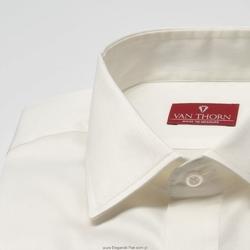 Elegancka śmietankowa ecru koszula z krytą listwą slim fit 37